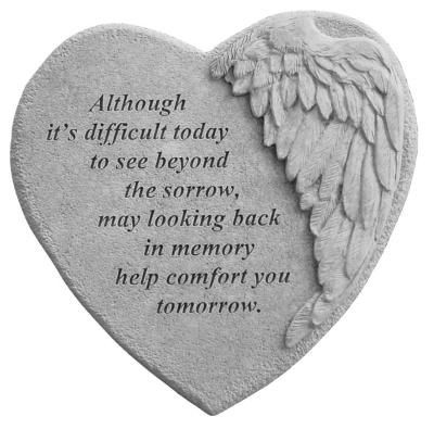 Memory Winged Heart Memorial Stone