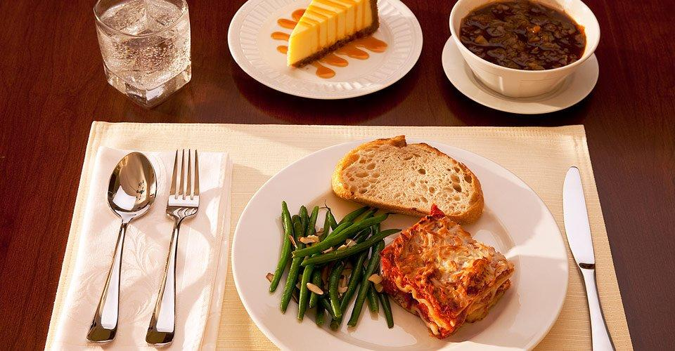 Meat Lasagna with Dessert and Soup