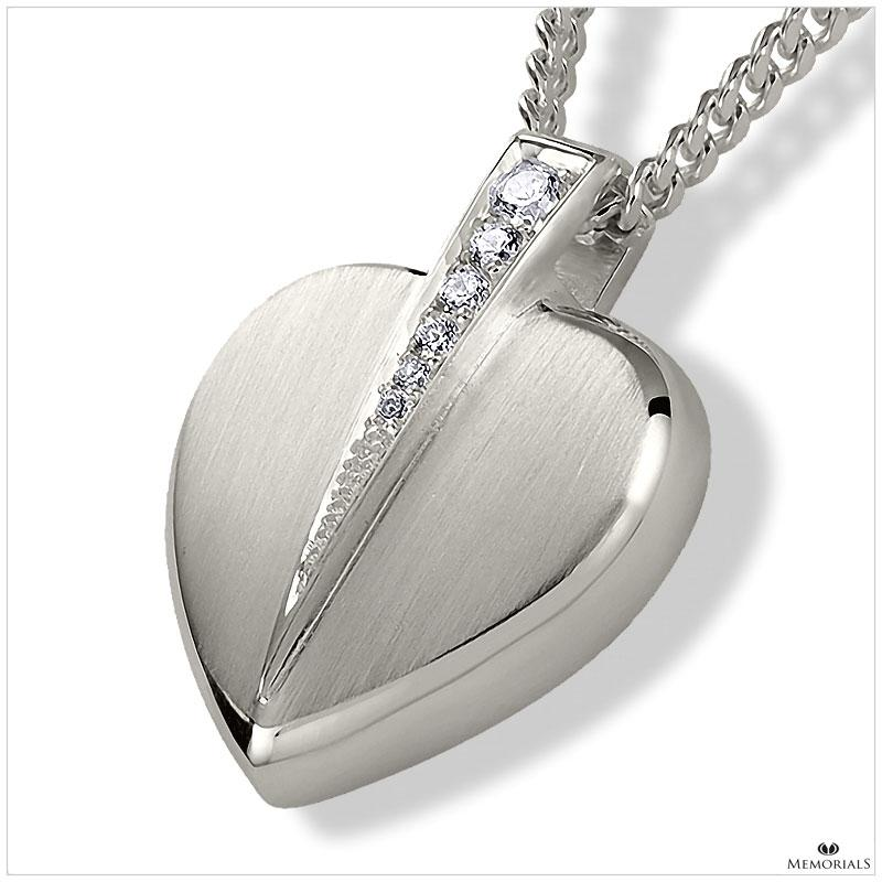 Heart With Crystal Pendant Locket for Ashes