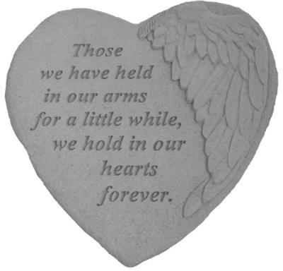 """In Our Hearts Forever"" Winged Memorial Stone"