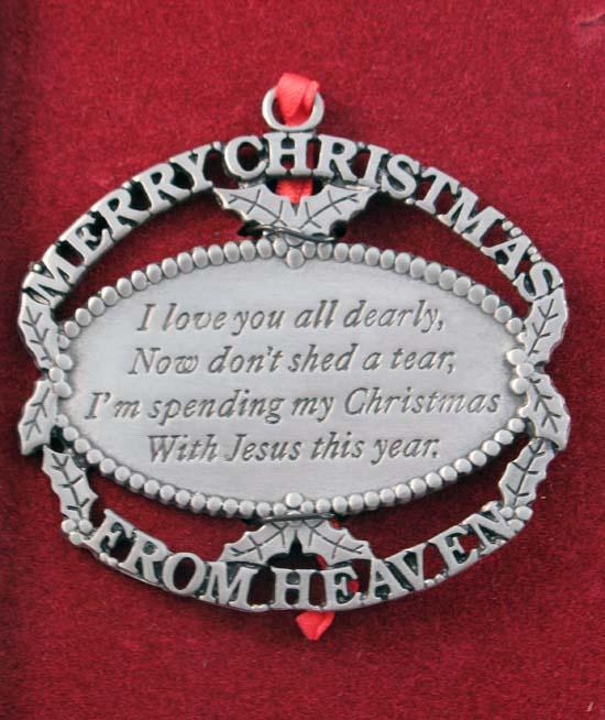 Remembrance Store Merry Christmas From Heaven Ornament Apple