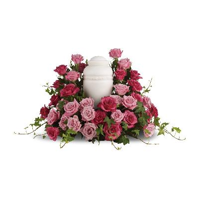 Bed of Pink Roses Urn Spray