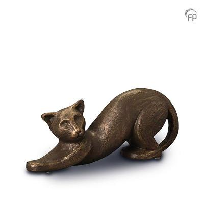 Ceramic designer pet urn with bronze finish
